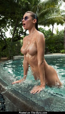 Olga De Mar - Stunning Wet, Glamour & Topless Blonde Pornstar & Babe with Stunning Bald Tight Knockers, Puffy Nipples, Tan Lines in the Pool (Hd Sexual Photoshoot)