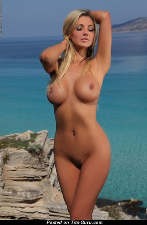 Image. Holly Henderson - sexy naked blonde with medium fake boobies pic