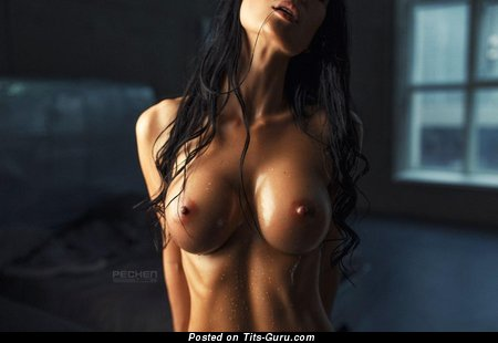 Awesome Brunette Babe with Awesome Defenseless Silicone Chest (Hd Porn Wallpaper)