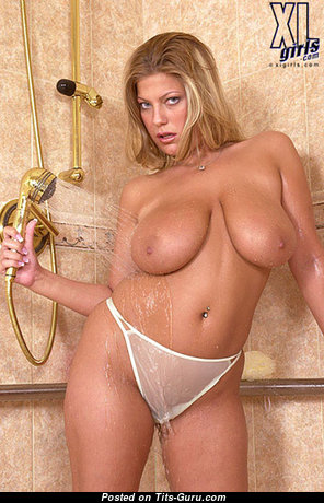 Bre - Alluring American Blonde Pornstar with Alluring Defenseless Natural Average Boobs (18+ Image)