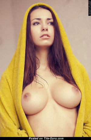 Helga Lovekaty - Superb Topless Russian Brunette Babe with Superb Bald Real C Size Knockers & Pointy Nipples (Xxx Foto)