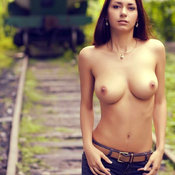 Brunette with big natural boobs image
