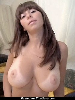 Handsome Topless Brunette Babe Jiggly Fascinating Open Real C Size Balloons & Red Nipples (Vintage Sex Gif)