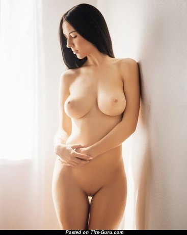 Sexy nude brunette with natural tits image
