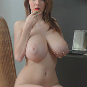 Sexy topless awesome lady with big natural boobs image