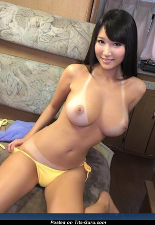 Honoka Mihara - Wonderful Glamour & Topless Asian Brunette with Wonderful Naked Medium Sized Titties, Puffy Nipples, Tan Lines in Lingerie is Undressing (18+ Photoshoot)