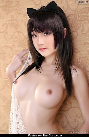Handsome Topless Asian Babe with Handsome Bare C Size Tit & Huge Nipples (Cosplay Sex Wallpaper)