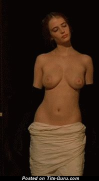 Graceful Topless Dame Jumping Pretty Open Natural Normal Jugs (Sex Gif)