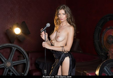 Laren Lee - Delightful Topless Playboy Brunette Babe with Delightful Bare Real Med Melons & Pointy Nipples (Hd Sexual Photo)