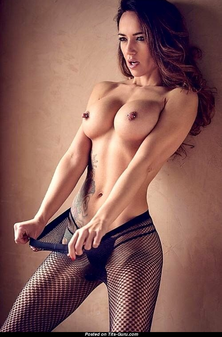 Cute Topless Brunette Babe with Cute Open Round Fake D Size Boobys, Puffy  Nipples, Tattoo & Piercing (Porn Photo)