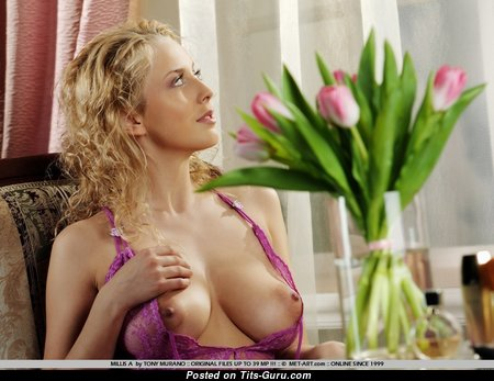Millis A - Superb Glamour & Topless Blonde Babe, Actress & Girlfriend with Superb Nude Natural Tots & Puffy Nipples is Undressing (Xxx Foto)