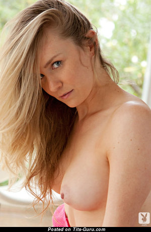Denise King - Grand Topless Playboy Blonde Babe with Grand Defenseless Real Firm Chest & Red Nipples (Sexual Wallpaper)