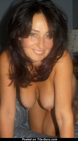 Cute Topless Brunette Wife, Mom, Housewife & Babe with Cute Naked Natural Firm Chest (on Public Sexual Wallpaper)