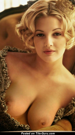 Drew Barrymore - Delightful American Blonde Actress with Delightful Naked Natural Medium Sized Busts (Hd 18+ Pic)