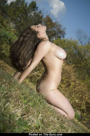 Image. Naked brunette with big natural boobies pic