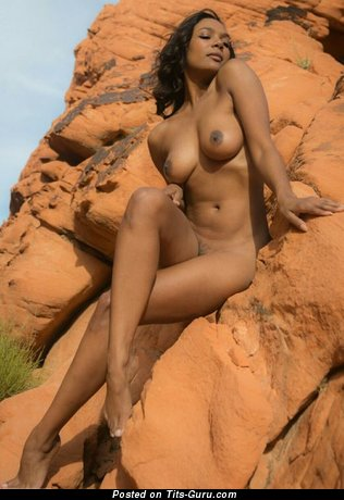 Image. Naked ebony with medium natural boobs photo