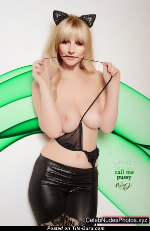 Melissa Rauch - Alluring Topless American Blonde Actress with Alluring Defenseless Real D Size Boobies & Erect Nipples (Vintage Hd Sexual Foto)