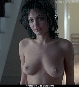 Image. Angelina Jolie - nude amazing girl with medium natural tittys gif