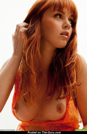 Image. Red hair with medium natural tittys image