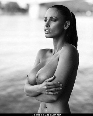 Pleasing Topless Brunette with Pleasing Defenseless D Size Chest (Porn Pix)