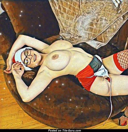 Tessa Fowler: гламурная и топлесс рыжая порнозвезда, красотка и заучка (США) с сексуальными оголёнными натуральными необъемлемыми титями и крупными сосками раздевается (косплей 18+ фотография)