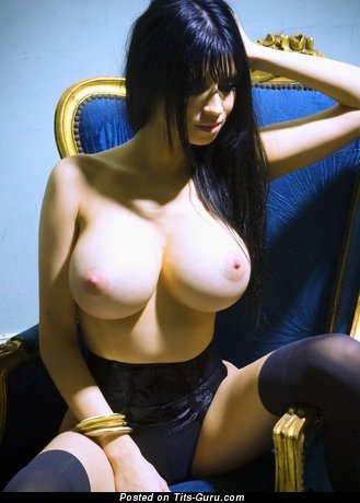 Hot Brunette with Gorgeous Defenseless Silicone Ddd Size Boob (Sexual Photo)