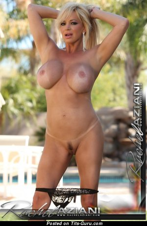 Image. Rachel Aziani - sexy naked blonde with big fake breast image