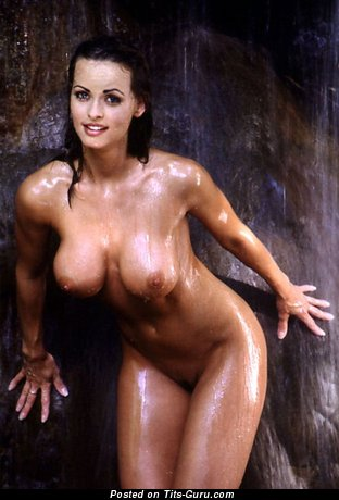Karen McDougal: sexy wet topless brunette with medium boob & big nipples vintage