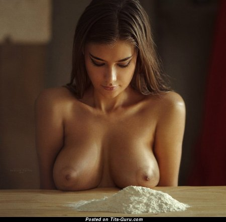 Sexy nude amazing lady with medium natural tittys & big nipples photo