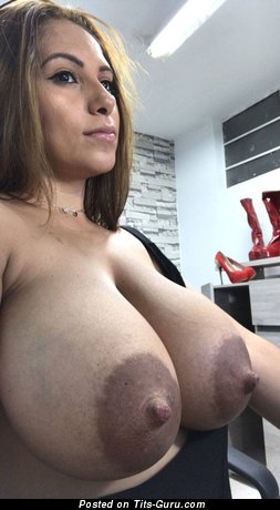 Naked blonde with big boobs and big nipples image