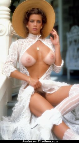 Patty Duffek - Pretty Topless, Glamour & Non-Nude American Playboy Red Hair Actress with Pretty Real C Size Boobys, Big Nipples, Tan Lines & Sexy Legs (Vintage 4k Sexual Photo)