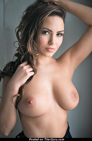 Sabine Jemeljanova - Fascinating Latvian Brunette Babe with Fascinating Bare Real Med Hooters (18+ Wallpaper)