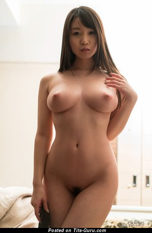 Sweet Topless Asian Brunette Babe with Yummy Defenseless Natural D Size Balloons & Erect Nipples (Hd Sexual Pic)