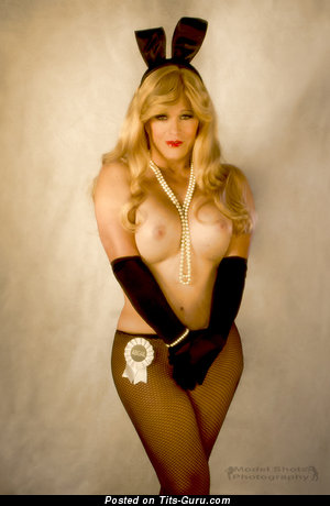 Abigail Rich - Sweet Topless & Glamour Playboy Blonde Babe, Actress & Cowgirl with Yummy Bald Tight Busts & Red Nipples in Pantyhose (Xxx Picture)
