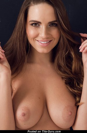 Image. Sabine Jemeljanova - sexy topless brunette with medium natural tittes image