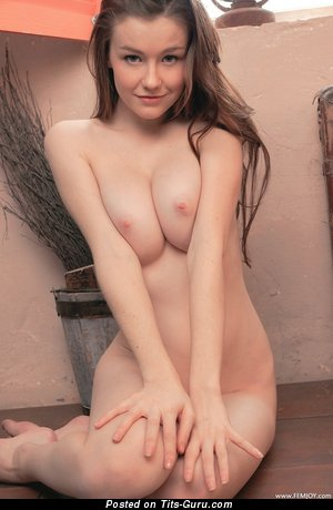 Image. Nude brunette with medium natural boobs photo