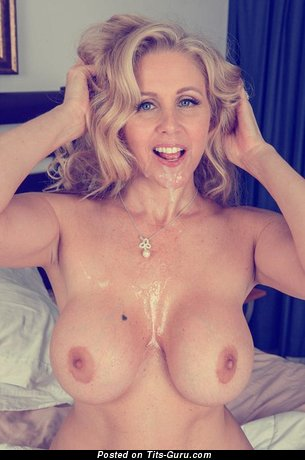 Image. Topless amateur blonde with big fake boobs image