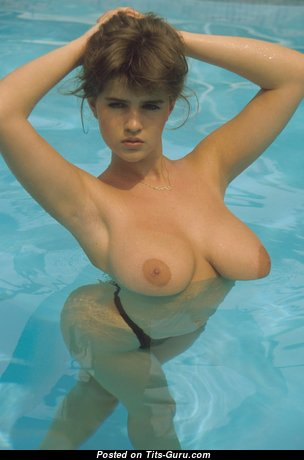 Gail Mckenna - Elegant British Brunette Babe with Elegant Nude Real Medium Sized Hooters in the Pool (Vintage Hd Sexual Photo)