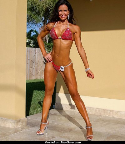 Kathy Picos - Dazzling Non-Nude Brunette Babe with Sexy Legs in Bikini is Doing Fitness (Hd Xxx Foto)