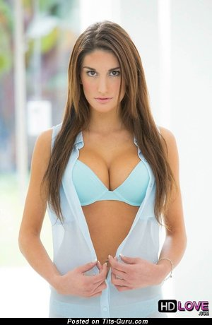 August Ames - Amazing Canadian Brunette Pornstar & Babe with Amazing Bald Real Medium Sized Tits, Puffy Nipples, Piercing & Tattoo in Lingerie (Hd Porn Picture)