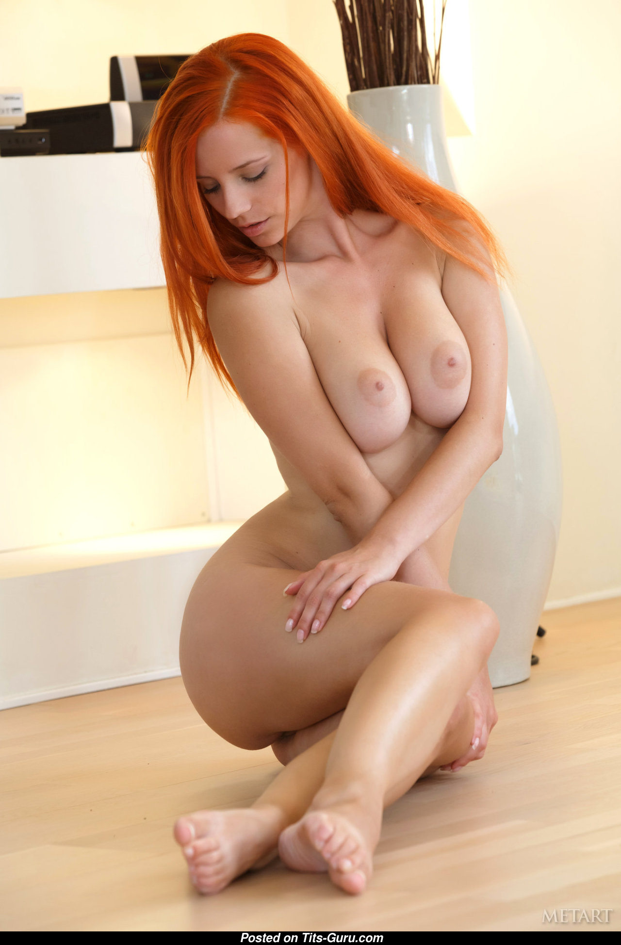 Horny big tits redhead babe