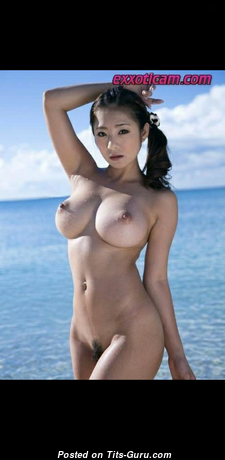Amazing Topless Asian Doxy with Amazing Bare Fake Medium Sized Boobies on the Beach (Hd Sexual Pix)