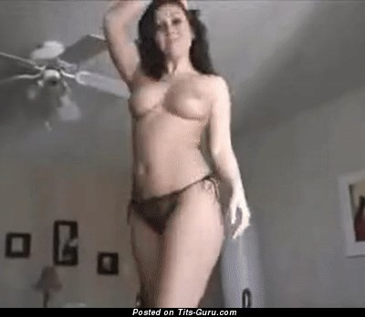 Topless brunette with medium natural tittys gif