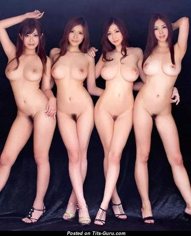 Haruki Sato, Yuna Shina, Julia Boin and Mitsuki Asuka - Magnificent Dancer & Girlfriend with Magnificent Bald Natural Jugs is Doing Fitness & Getting Orgasm (Sex Image)