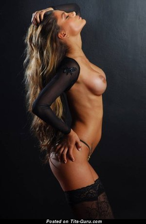 Appealing Bimbo with Appealing Open Average Boobs (Sexual Photo)