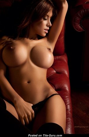 Splendid Topless Brunette Babe with Nice Bare Tight Boobs & Red Nipples (Porn Photo)