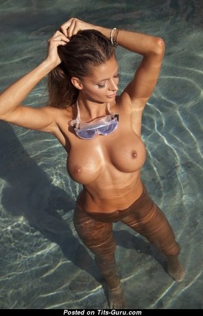 Wonderful Babe with Wonderful Naked Silicone Dd Size Boob & Enormous Nipples in the Pool (Xxx Photoshoot)