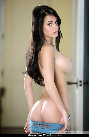 Topless brunette with big breast pic