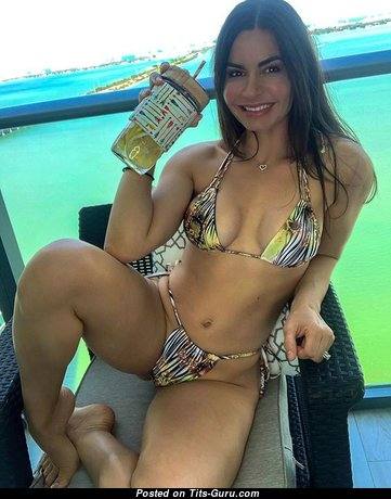 Kathy Picos - Beautiful Non-Nude Brunette Babe & Wife with Beautiful Dd Size Titty & Sexy Legs in Bikini is Doing Fitness (Sexual Pic)
