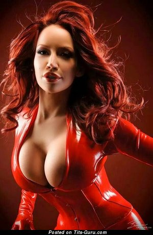 Image. Red hair with big fake boobs photo